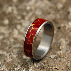 STONE OF ENDURANCE | Red Jasper Stone & Titanium - Unique Wedding Rings - Women's Wedding Rings - Minter and Richter Designs