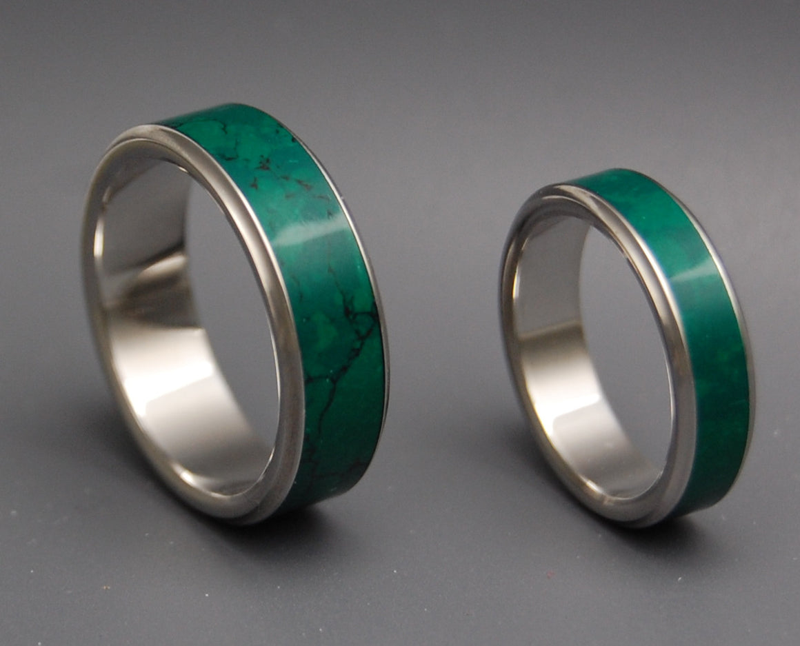 STONE OF HEAVEN | Imperial Jade Titanium Wedding Rings set - Minter and Richter Designs