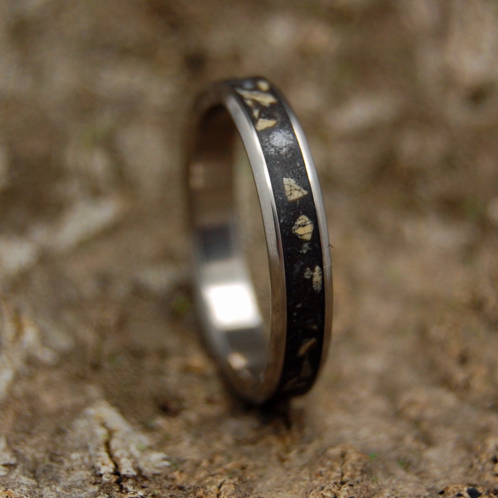 BETHLEHEM  | Israel Beach Sand & Bethlehem Stone - Unique Wedding Rings - Minter and Richter Designs