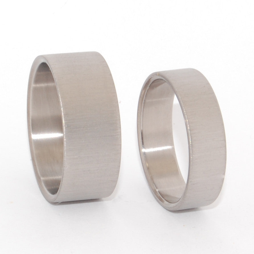 Straight Up | His and Hers Matching Titanium Wedding Band Set