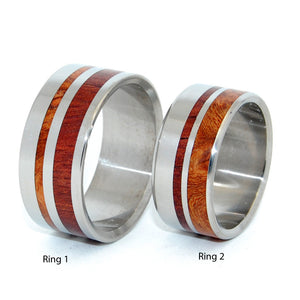 STRONGER TOGETHER | Dark Maple Wood, Koa Wood & Titanium - Unique Wedding Rings Set - Minter and Richter Designs