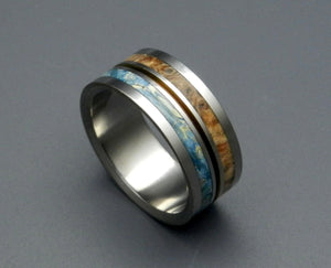 SUN & MOON | Box Elder Wood & Titanium  - Unique Wedding Rings - Minter and Richter Designs
