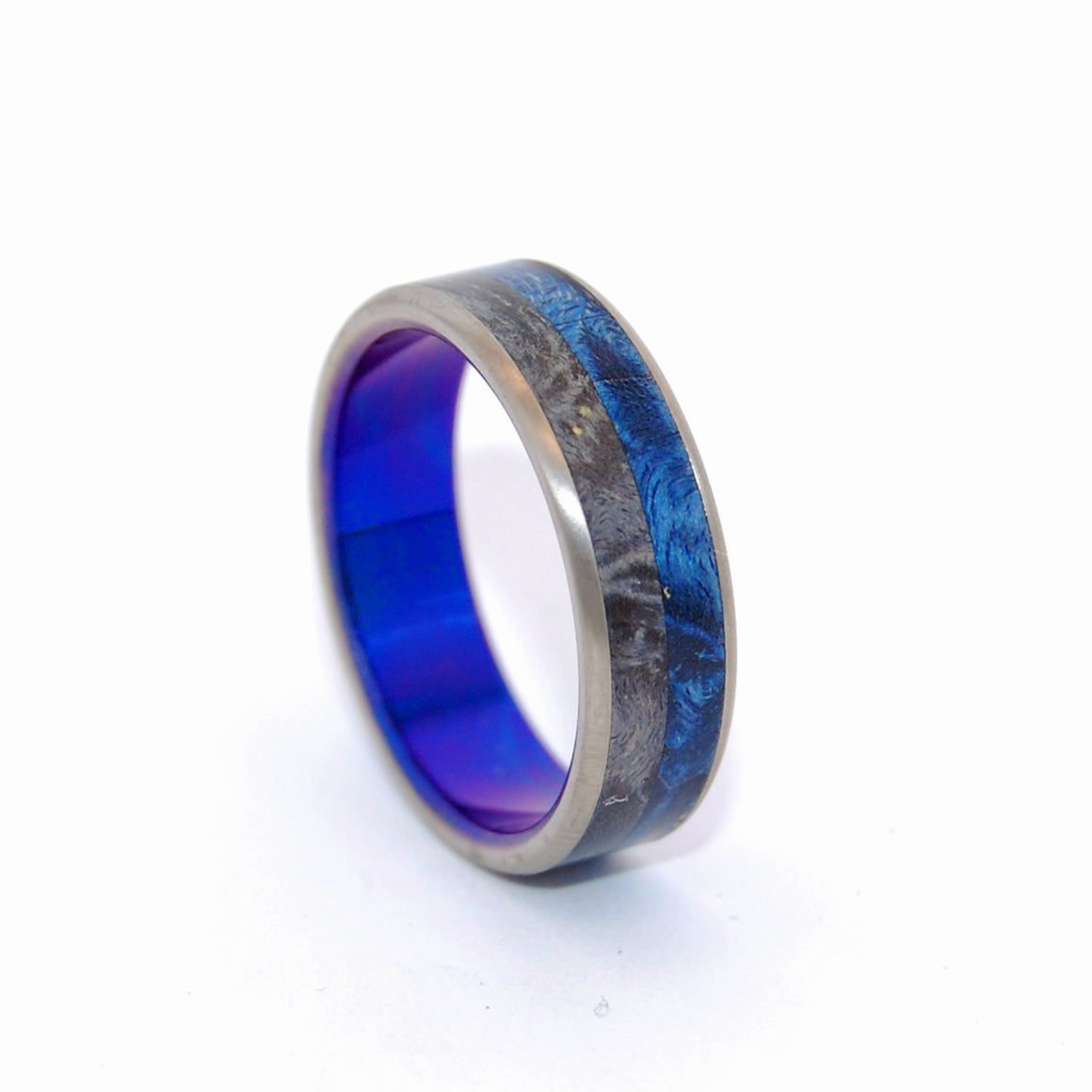 Take Me | Wood and Hand Anodized Blue - Titanium Wedding Ring