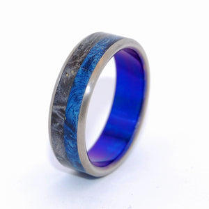 Take Me | Wood and Hand Anodized Blue - Titanium Wedding Ring - Minter and Richter Designs