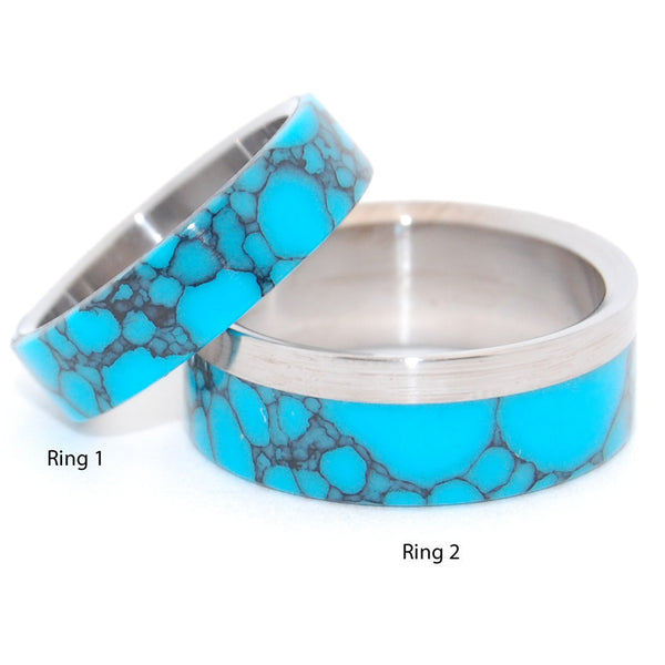 Minter Richter Titanium Rings Turquoise Wedding Rings Minter And Richter Designs