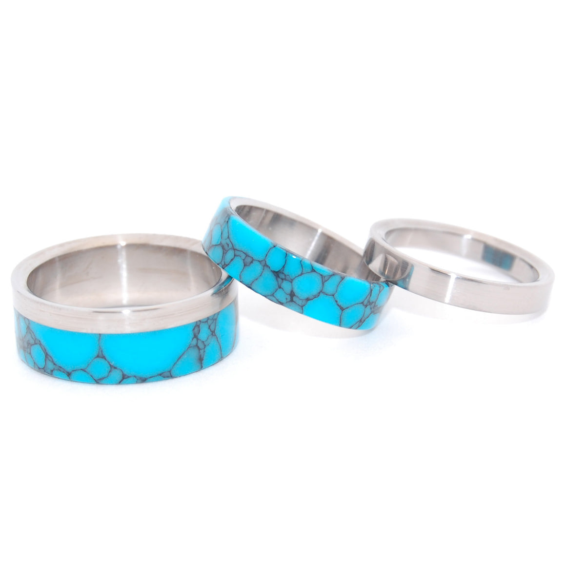 TEMPEST LOOMS | Turquoise & Titanium - Wedding & Engagement Set - Minter and Richter Designs