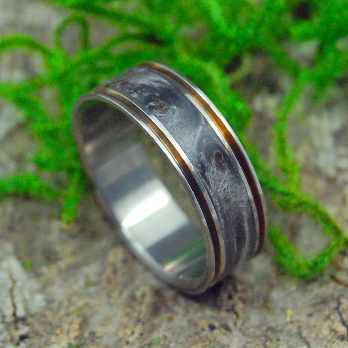 THE DOOR IN FRONT OF YOU | California Buckeye Wood Titanium Men's Wedding Rings - Minter and Richter Designs