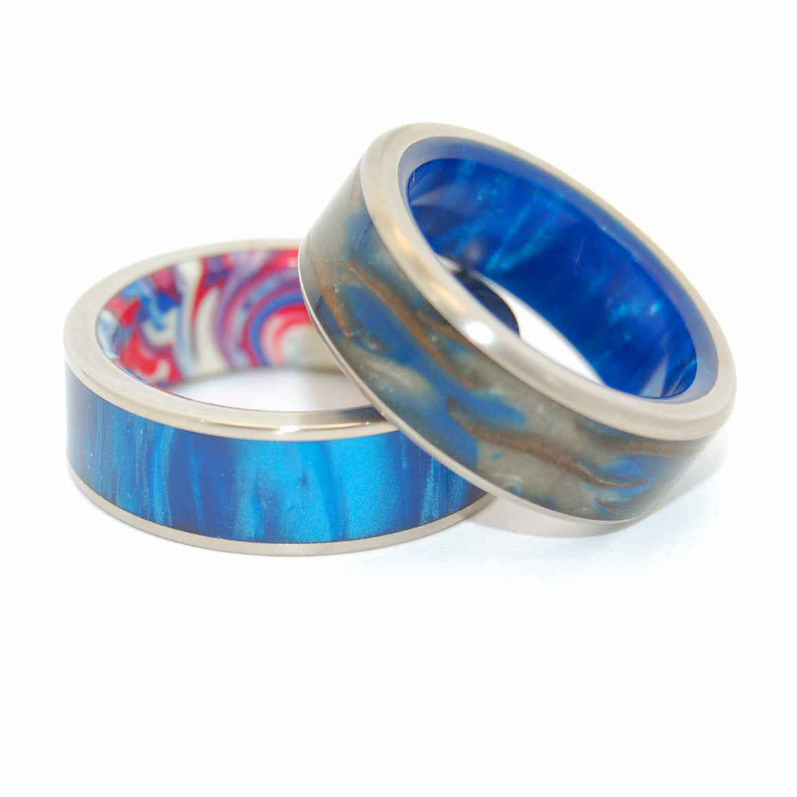 GALACTIC LOVE | Pine Cone Wood resin & Blue Marbled Opalescent - Unique Wedding Rings Set - Minter and Richter Designs