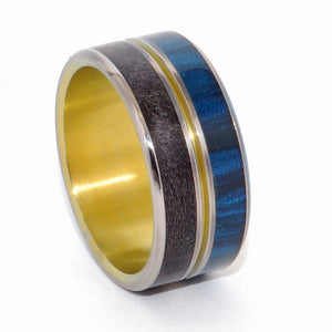 The Light Between Us | Black - Blue - Hand Anodized Bronze - Titanium Wedding Ring - Minter and Richter Designs