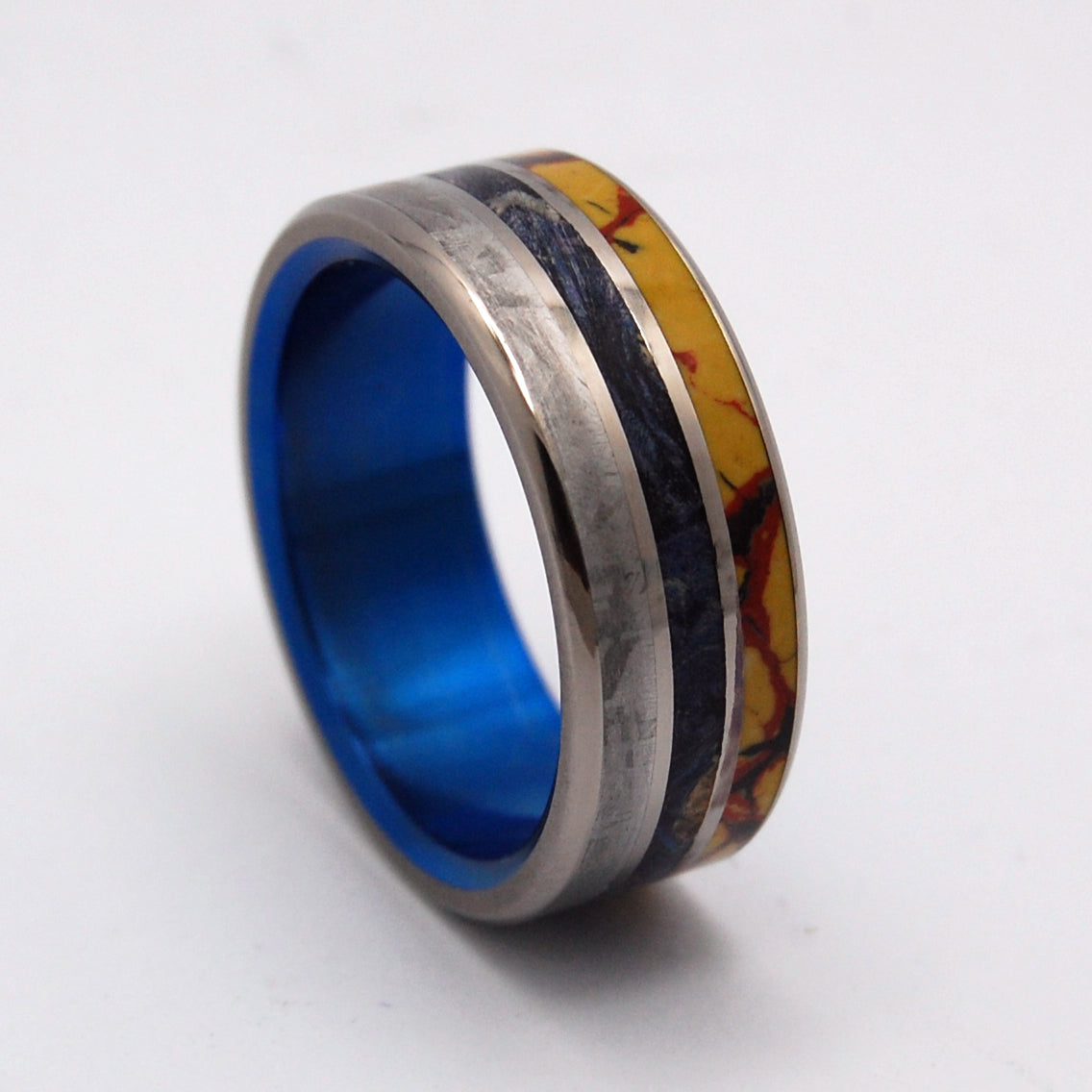 DINO KILLER | Dinosaur Bone & Meteorite & Blue Box Elder Wood Titanium Wedding Bands - Minter and Richter Designs