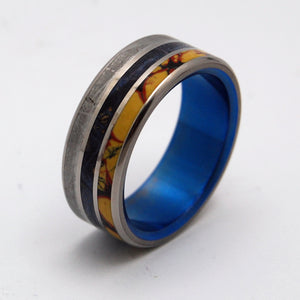 The Blue Meteorite that Killed the Dinosaurs | Dinosaur Bone and Meteorite - Titanium Wedding Band