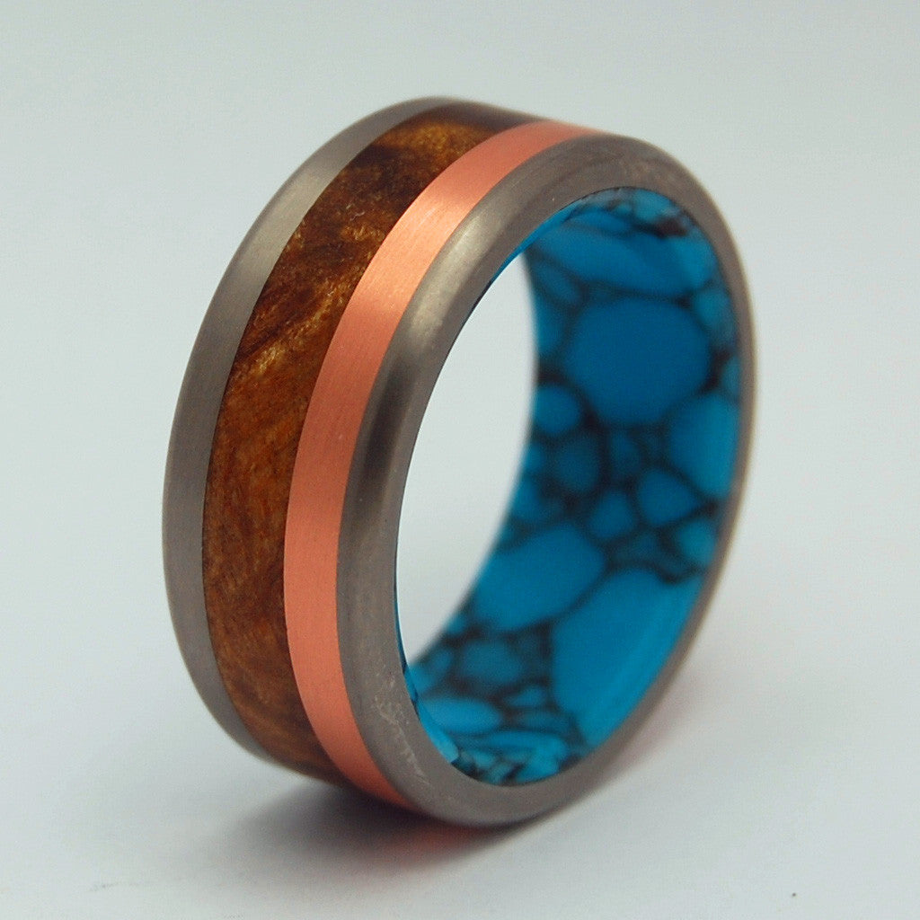 The Motive of a Viking | Titanium Mens Ring - Copper Ring - Unique Wedding Ring