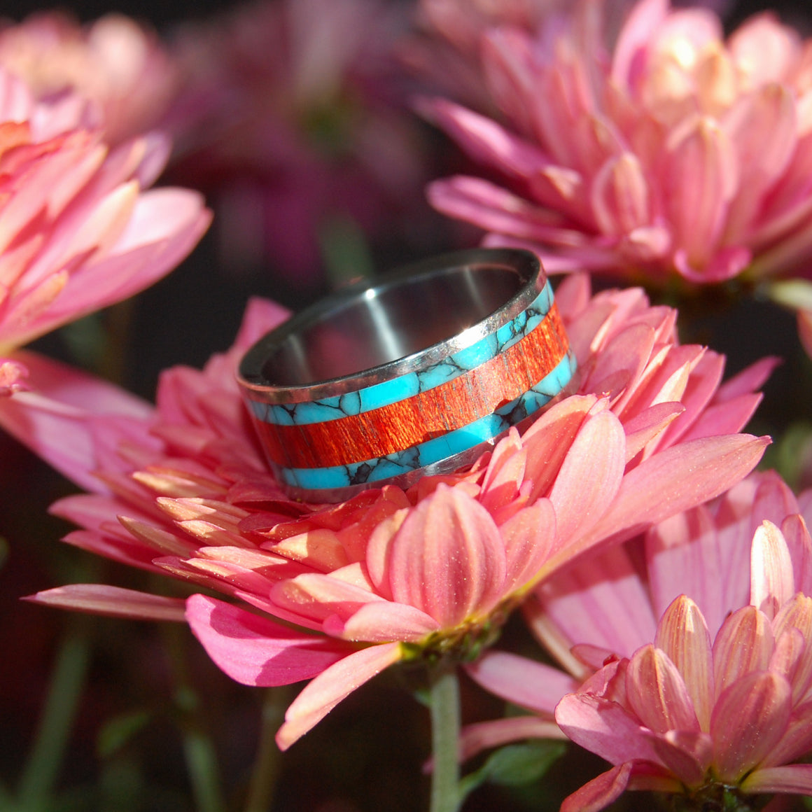 THE RING THAT JACK BUILT | Turquoise & Bloodwood Titanium Wedding Rings - Minter and Richter Designs