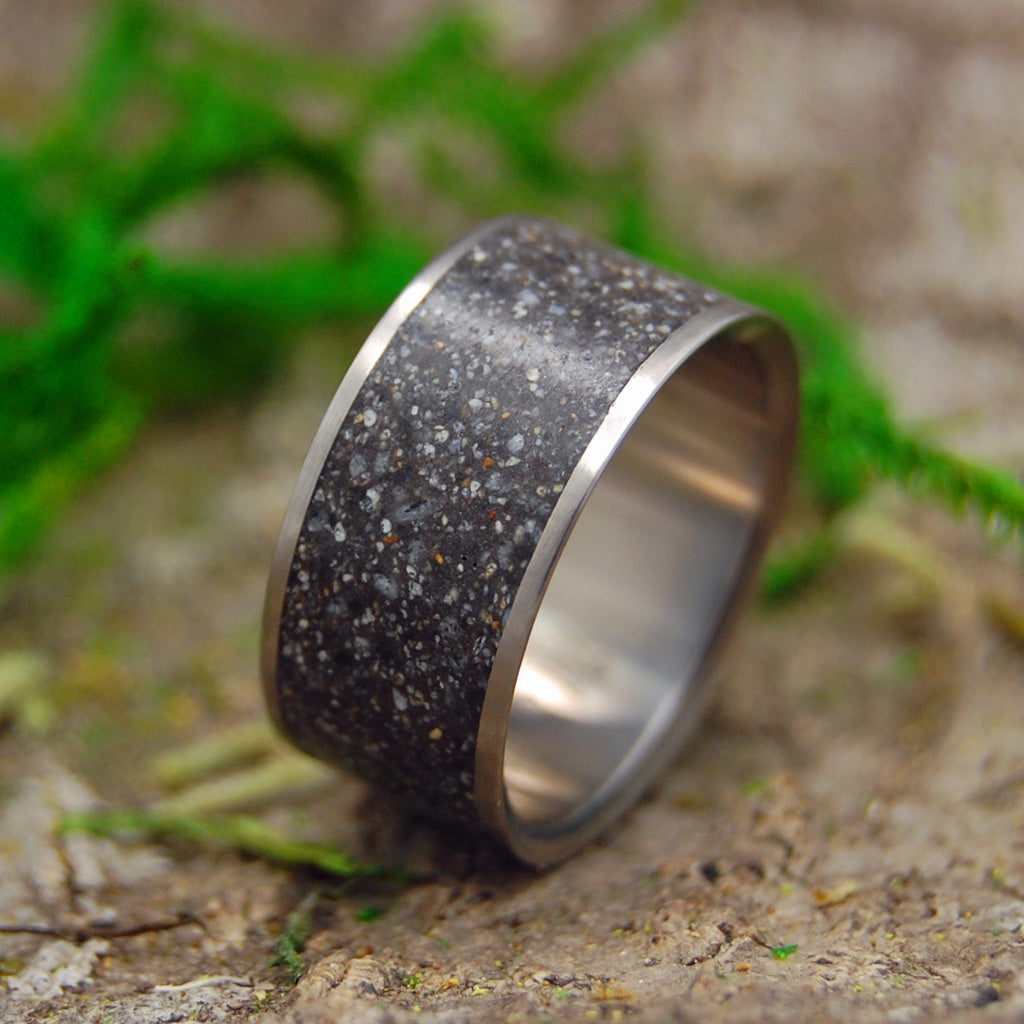 Men's Rings - Black Concrete Titanium Rings - Unique Wedding Rings | THE SAND FROM WHERE WE MET