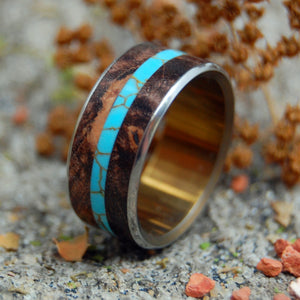 THE STONECUTTER | Spalted Maple Wood & Tibetan Turquoise Wedding Rings - Minter and Richter Designs