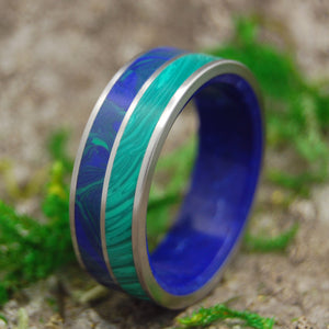 THIRD EYE | Malachite Stone, Azurite Stone & Sodalite Stone Titanium Men's Wedding Rings - Minter and Richter Designs