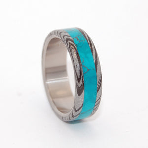 THOR GREEK GOD | Chrysocolla Stone & M3 Titanium Wedding Rings - Minter and Richter Designs