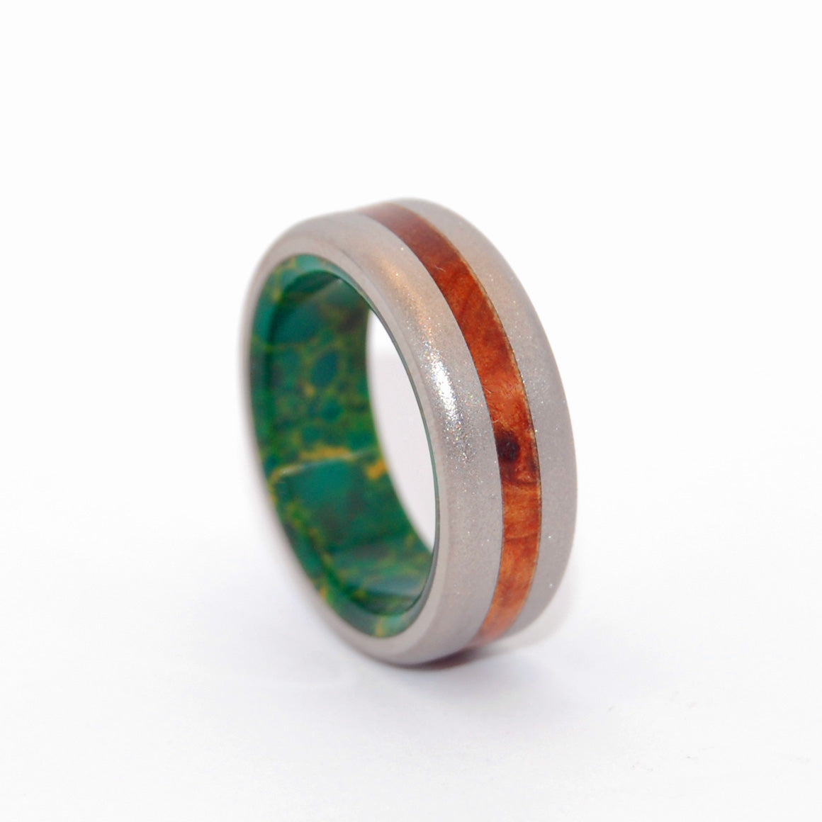Evolve | Stone and Wood Titanium Wedding Ring