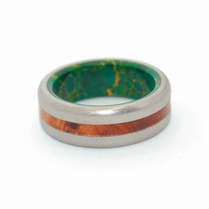 EVOLVE | Egyptian Jade Stone & Thuya Burl Wood Titanium Wedding Rings - Minter and Richter Designs