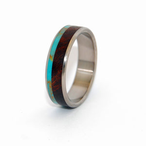 Tibetan Plateau Rounded | Mens Rings - Turquoise Wedding Ring - Wooden Ring