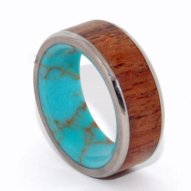 LET THERE BE | Turquoise Stone, Hawaiian Koa Wood & Titanium - Unique Wedding Rings - Minter and Richter Designs