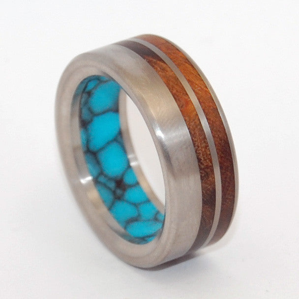 To Be Together | Wood and Turquoise - Titanium Wedding Ring