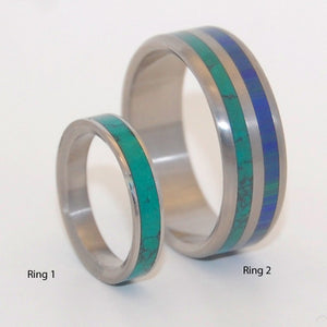 To Jump Into Love Fully | Stone and Titanium Wedding Band Set - Minter and Richter Designs