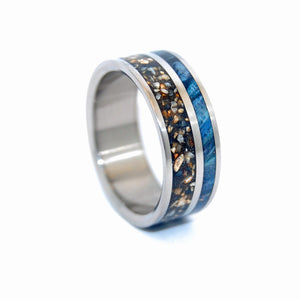 To Rise Above the Dark - Heavy  Aggregate | Concrete Titanium Wedding Rings - Minter and Richter Designs