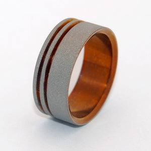 Mens Ring - Handcrafted Titanium Wedding Ring | TO THE FUTURE II BRONZE
