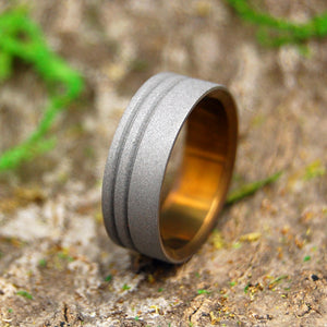 TO THE FUTURE BRONZE | Sandblasted & Bronzed Titanium Men's Wedding Rings - Minter and Richter Designs