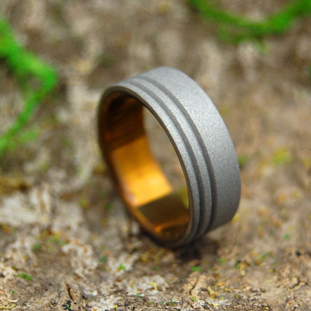 Mens Ring - Handcrafted Titanium Wedding Ring | TO THE FUTURE BRONZE