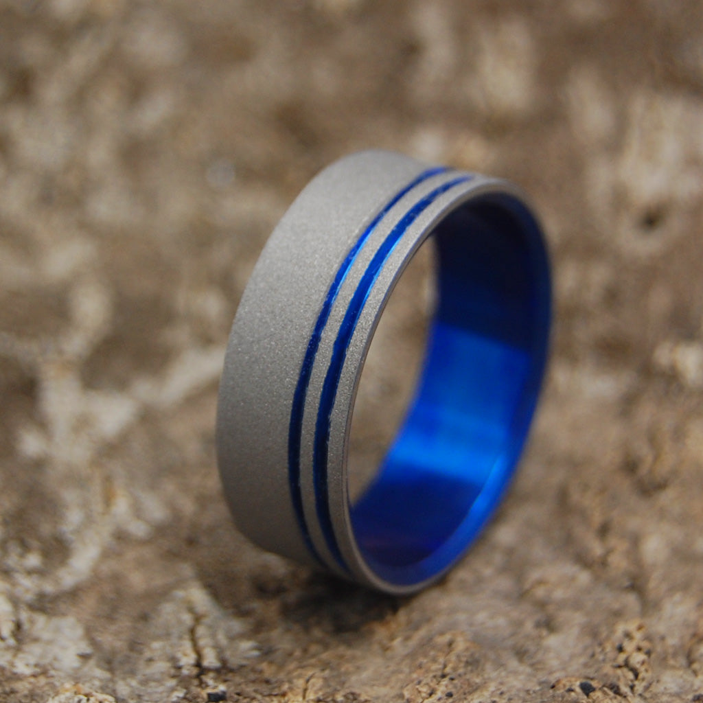 TO THE FUTURE II | Titanium Blue Wedding Rings - Minter and Richter Designs