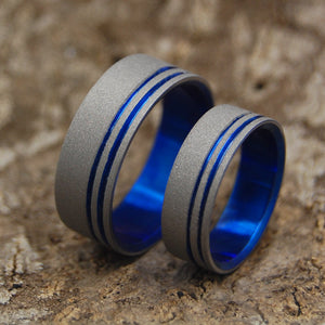 To The Future II Blue | Matching Blue Titanium Wedding Bands - Minter and Richter Designs