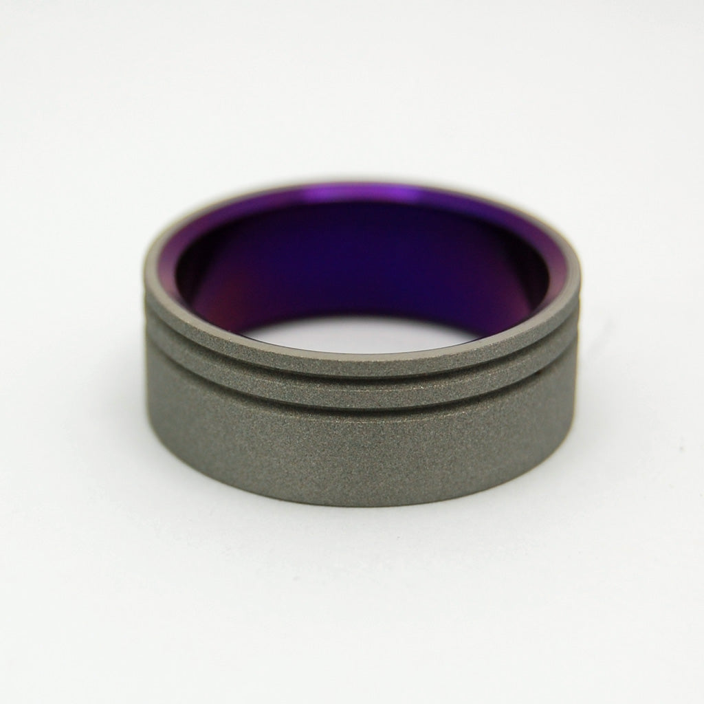 TO THE FUTURE PURPLE | Purple Sandblasted Titanium - Unique Wedding Rings - Wedding Rings - Minter and Richter Designs