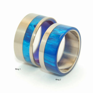 TO THE WINDS PROMISE | Blue Marbled Resin & Titanium - Unique Wedding Rings - Wedding Rings Set - Minter and Richter Designs