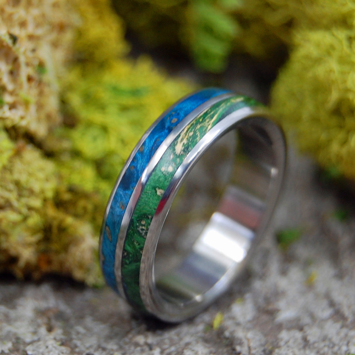 TOGETHER TRUE | Blue & Green Box Elder Wood Titanium Handcrafted Men's and Women's Wedding Rings - Minter and Richter Designs
