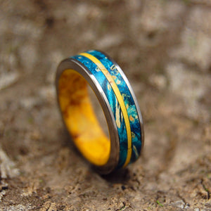 TORNADO OF DESIRE AND SUNSHINE | Yellow Jasper Stone & Blue Box Elder Wood Titanium Women's Wedding Ring - Minter and Richter Designs
