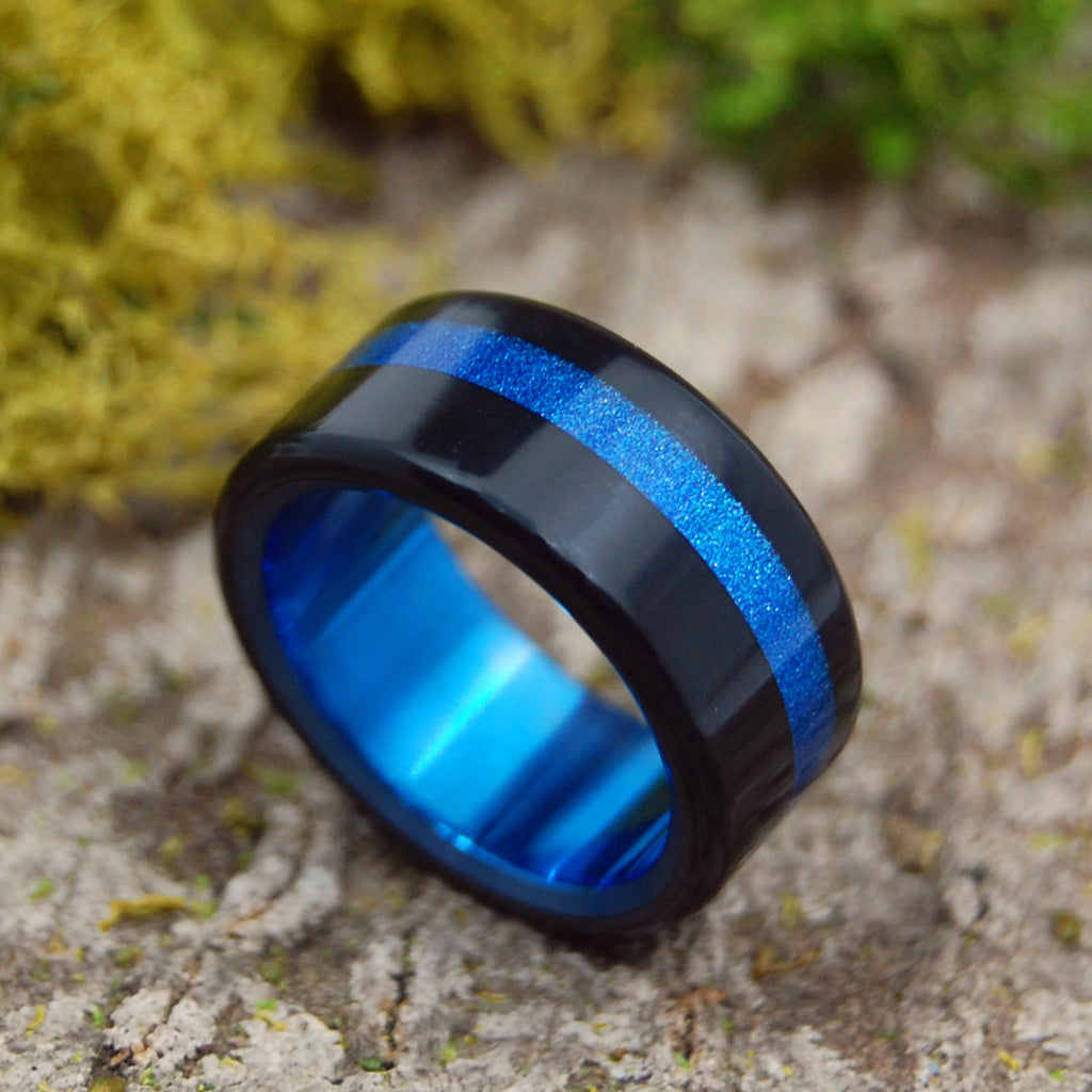 Tron | SIZE 7.25 AT 9.5MM | Black & Blue Sparkle Resin | Titanium Wedding Rings | On Sale - Minter and Richter Designs