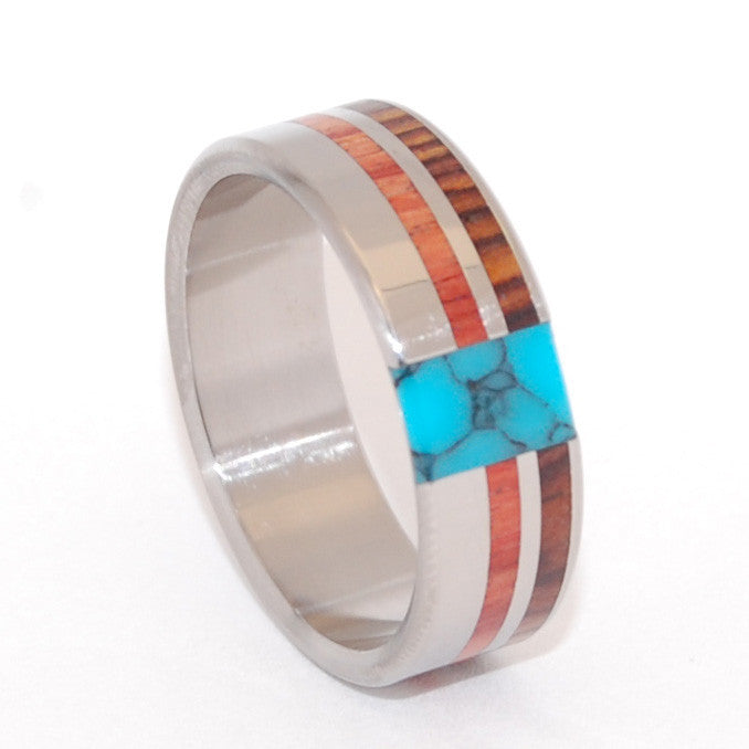 UNFOLDING BEAUTY | Tulip Wood, Cocobolo Wood & Turquoise - Wedding Engagement Rings - Minter and Richter Designs