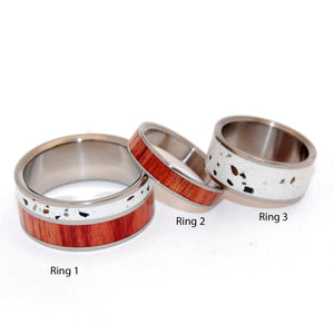 Tupelo | Concrete and Wood - Titanium Engagement and Wedding Ring Set - Minter and Richter Designs