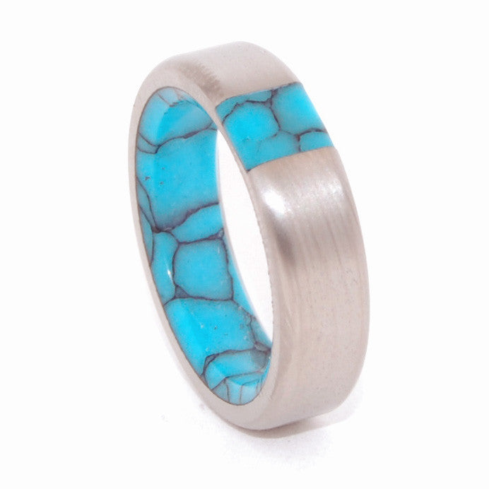 MIRAGE | Arizona Turquoise - Handcrafted Titanium and Stone Wedding Rings, Unique Wedding Rings - Minter and Richter Designs