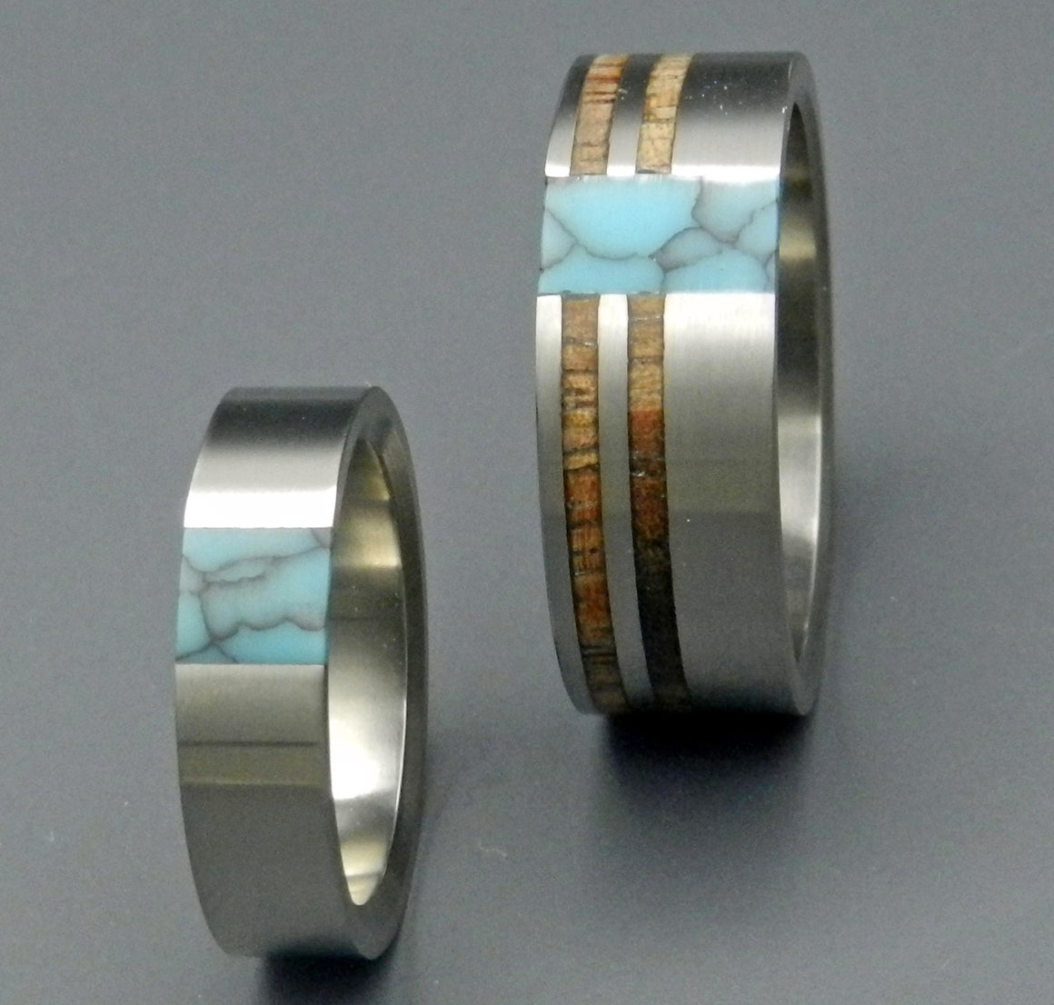 TRUE NORTH PARTNER | Turquoise & Hawaiian Koa Wood Wedding Rings Set - Minter and Richter Designs