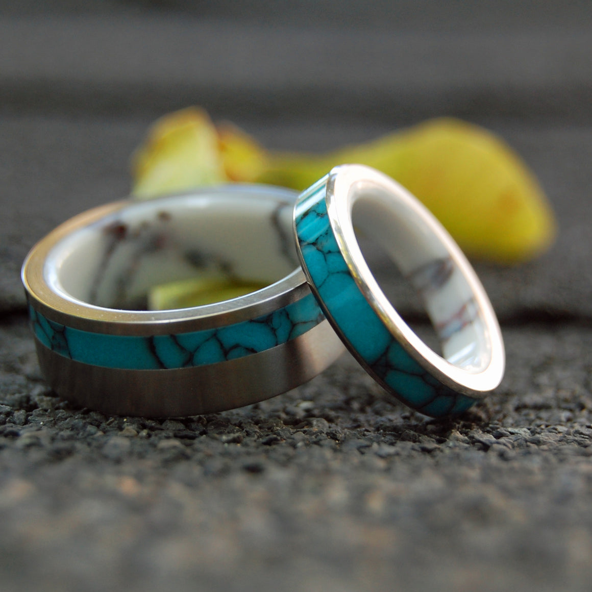LIFETIME & BLUE MOON | Turquoise Stone & Wild Horse Jasper Stone - Unique Wedding Rings Set - Minter and Richter Designs