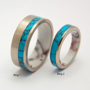 Once in a Lifetime and Once in a Blue Moon | Turquoise Wedding Ring Set