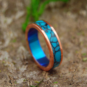 IT WASN'T A DREAM | Turquoise & Copper Titanium Women's Wedding Rings - Minter and Richter Designs