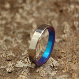 Slim, Sleek and Turquoise | Handcrafted Titanium Wedding Bands