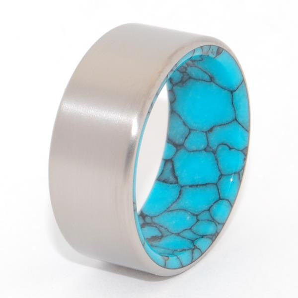 LAKE BAIKAL | Turquoise & Titanium Men's Wedding Rings - Minter and Richter Designs