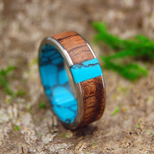 WHEN WE MET | Koa Wood & Turquoise Titanium Men's Wedding Rings - Minter and Richter Designs