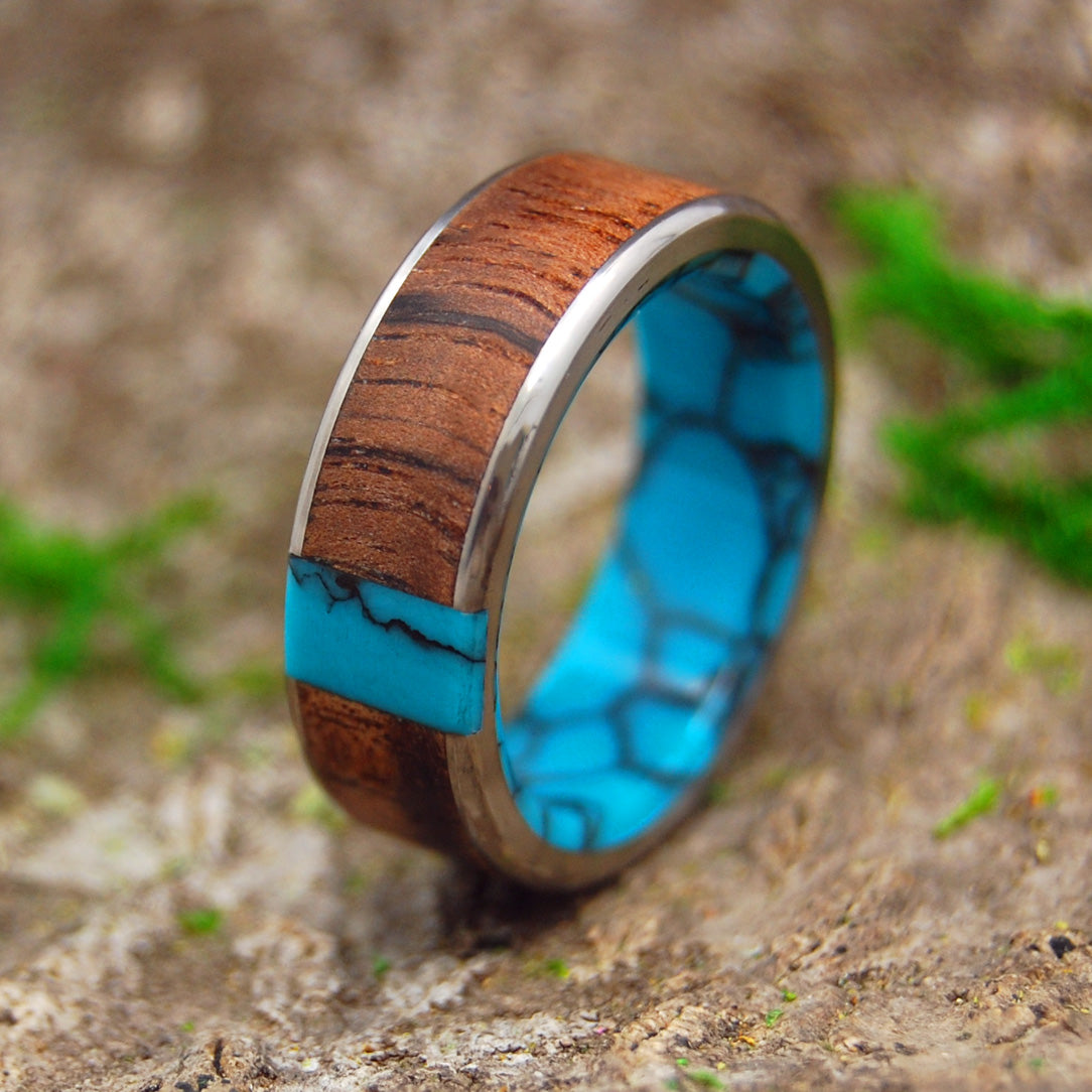 Mens Wedding Ring - Titanium Turquoise Ring | WHEN WE MET