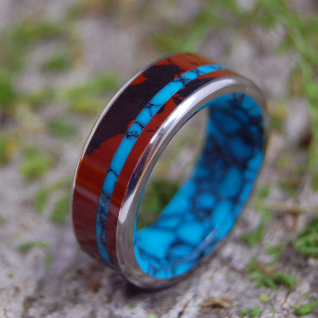 Mens Ring, Womens Ring, Stone and Titanium Wedding Ring | MAHOGANY OBSIDIAN & TURQUOISE